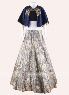 Poncho Style Indo Western Choli Suit