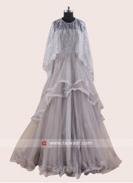 Poncho Style Multi Layer Net Gown