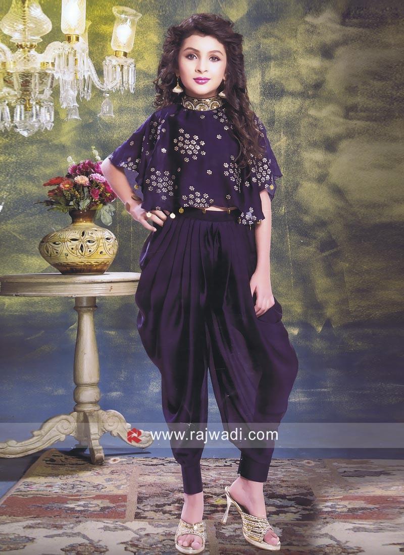 Poncho Style Satin Silk Dhoti Suit
