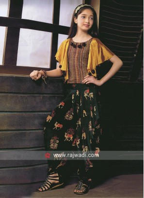 Poncho Style Top with Dhoti Bottom
