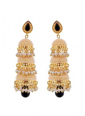 Pool of Pearls Black Drop Three Layered Jhumki Earrings