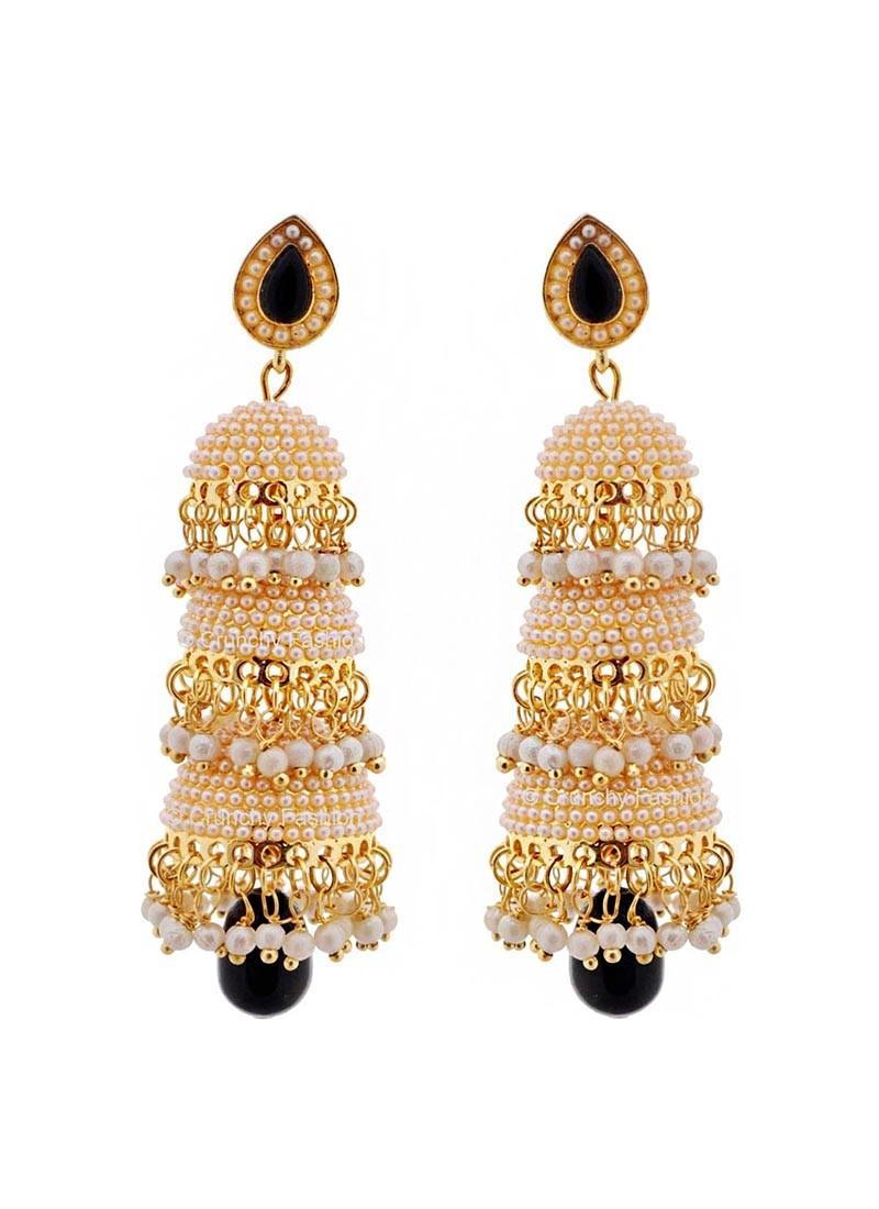 Pool of Pearls Black Drop Three Layered Jhumki Earrings