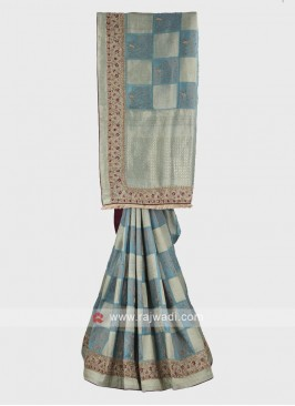 Powder blue banarasi silk saree