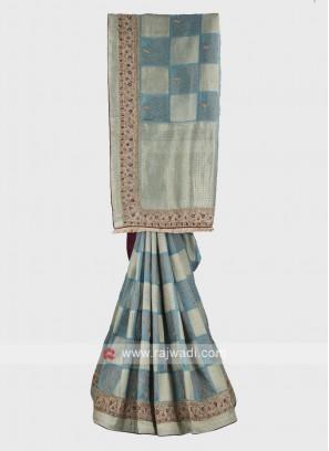 Powder blue banarasi silk saree