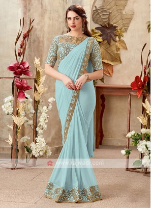 power blue color chiffon saree