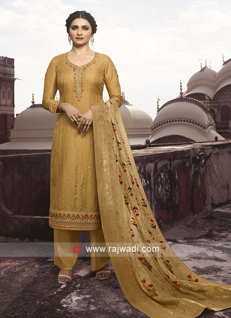 Prachi Desai Golden Yellow Salwar Suit with Sleeves