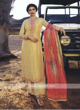 Cream And Peach Palazzo Style Salwar  Suit