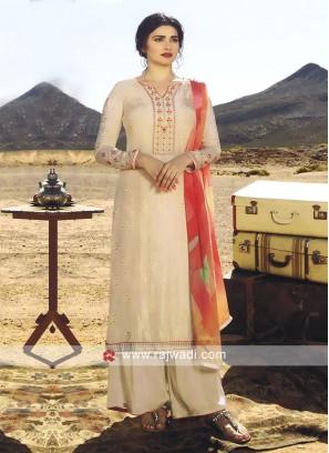 Prachi Desai Cream Palazzo Style Salwar  Suit