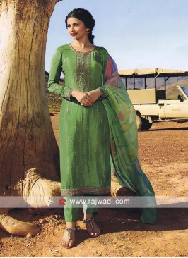 Green Pant Style Salwar Suit