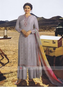 Classy Grey Palazzo Style Salwar  Suit
