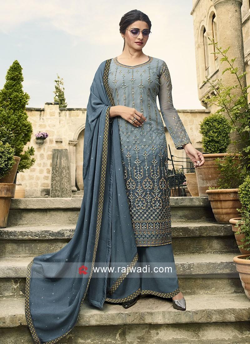 Prachi Desai in Dark Grey Color Salwar Suit