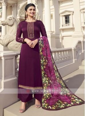 Prachi Desai Maroon Palazzo Suits