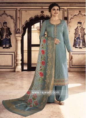 Prachi Desai Silk Grey Salwar Kameez