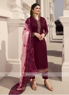 Prachi Desai Silk Pant Style Suit