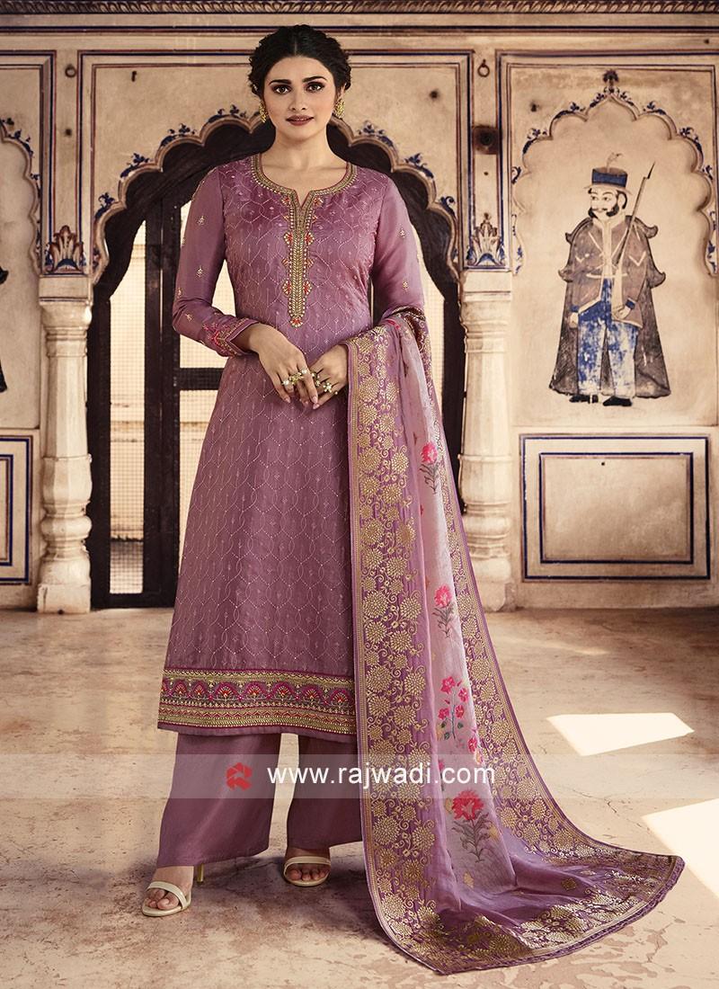 Prachi Desai Silk Salwar Suit in Light Purple