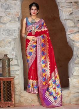 Praiseworthy Silk Red Weaving Trendy Saree
