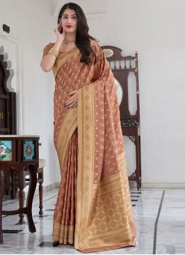 Praiseworthy Woven Peach Satin Silk Traditional Saree