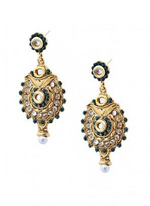 Precise Ornate Green Antique Earrings