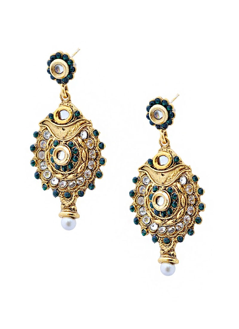 Precise Ornate Green Antique Earrings