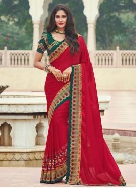 Preferable Embroidered Red Designer Saree