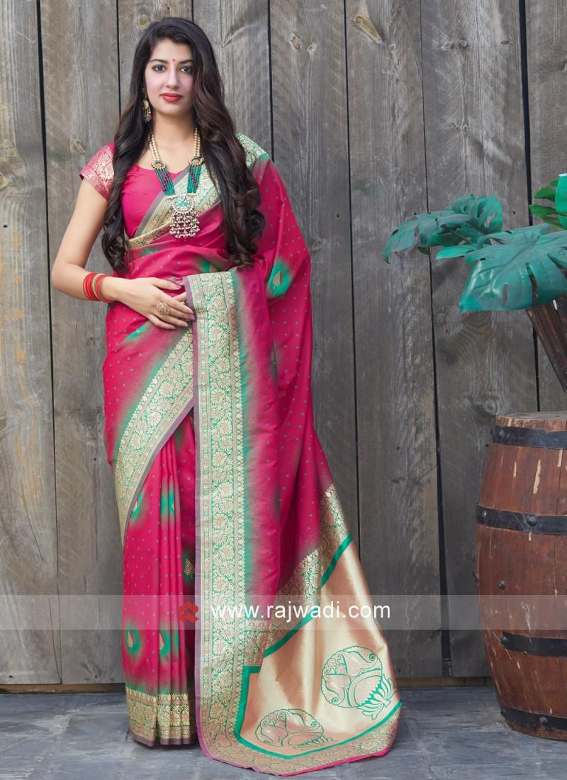 Preferable Silk Pink Weaving Classic Saree