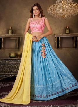 Light Blue And Pink Choli Suit With Contrast Dupatta