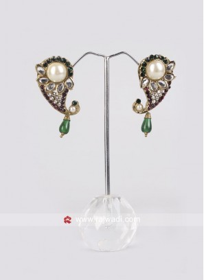 Pretty Green & Magenta Paisley Earrings