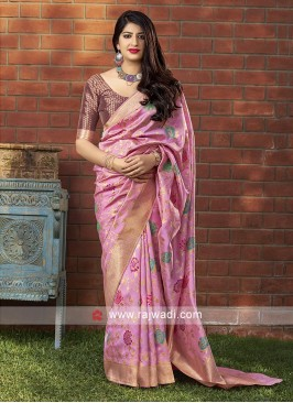 Pretty Pink Banarasi Silk Saree