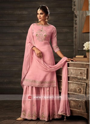 Pretty Pink coloured Embroidered Gharara Suit