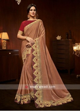 Prime Art Silk Embroidered Peach Designer Traditional Saree
