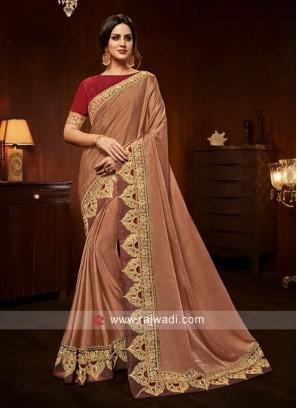 Prime Art Silk Embroidered Peach Designer Traditional Saree