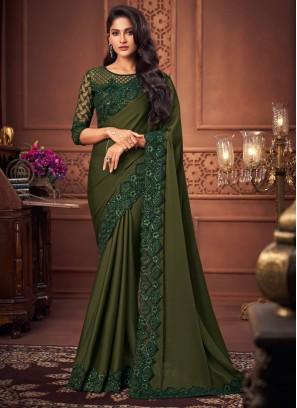 Prime Green Patch Border Faux Chiffon Designer Saree