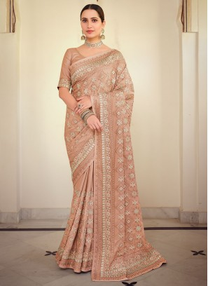 Princely Embroidered Peach Georgette Satin Bollywood Saree