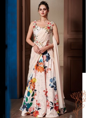 Print Fancy Fabric Designer Gown in Pink
