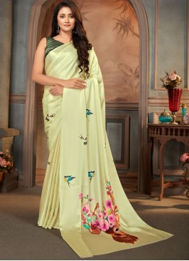 Print Faux Crepe Casual Saree in Yellow