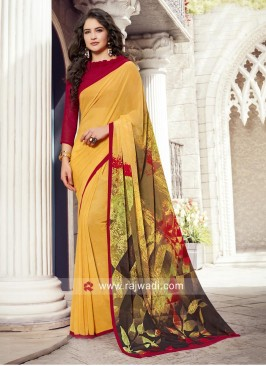 Printe Saree with Plain Blouse