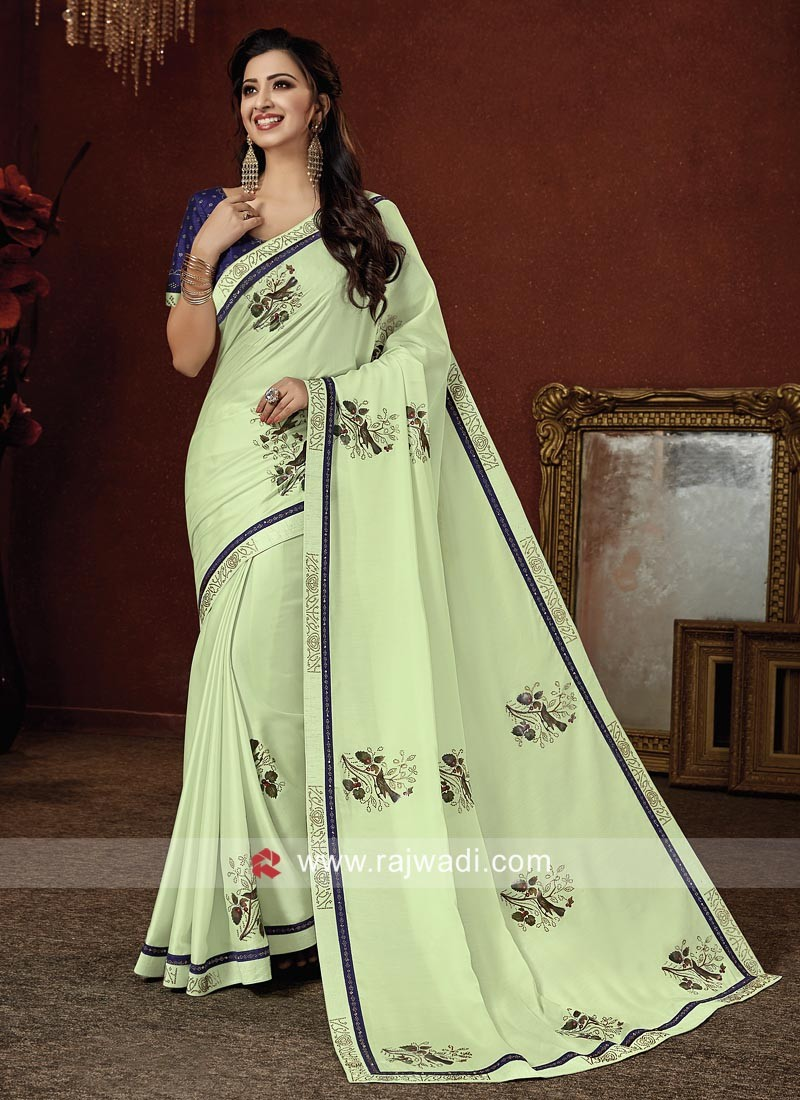 Printed Art Satin Silk Saree with Blouse