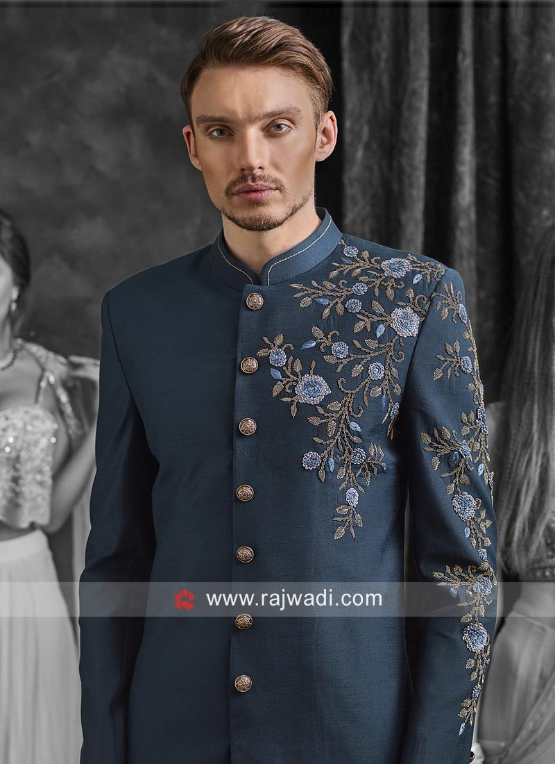Peacock Blue Indo Western For Wedding