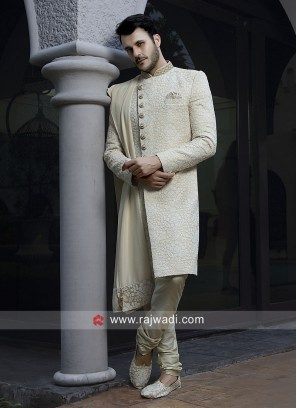 Thread Work Cream Sherwani With Stylish Dupatta