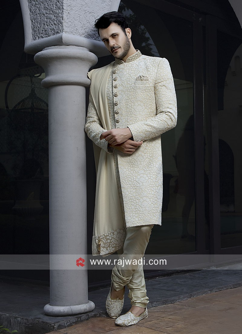 Thread Work Cream Sherwani With Stylish Dupatta