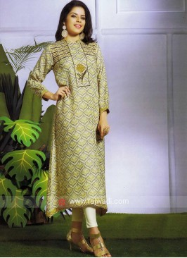 Printed Art Silk Long Kurti