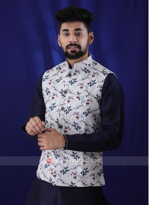 Printed Art Silk Nehru Jacket