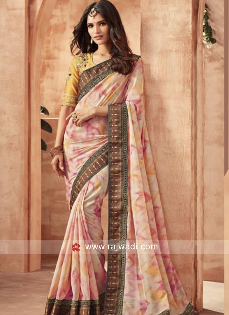Printed Art Silk Saree with Blouse