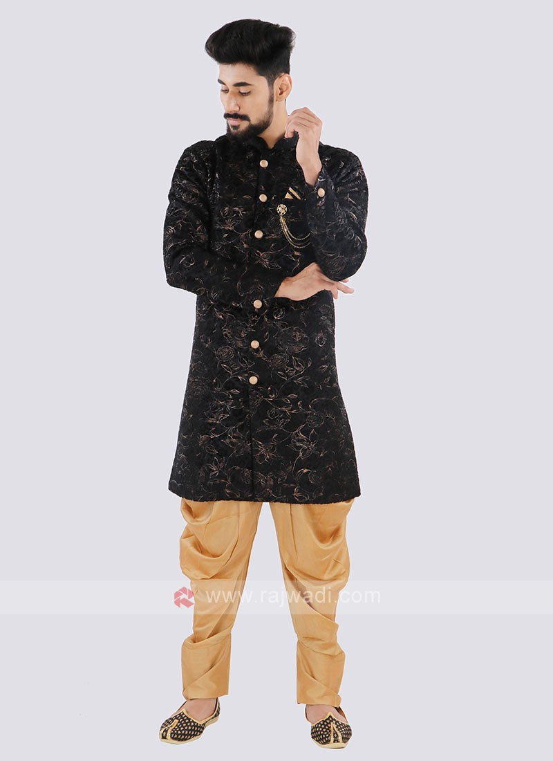 Printed Black And Golden Indo Western