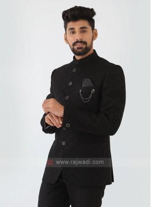 Printed Black Jodhpuri Suit