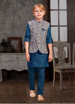 Printed Blue And White Nehru Jacket