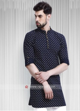 printed blue color kurta