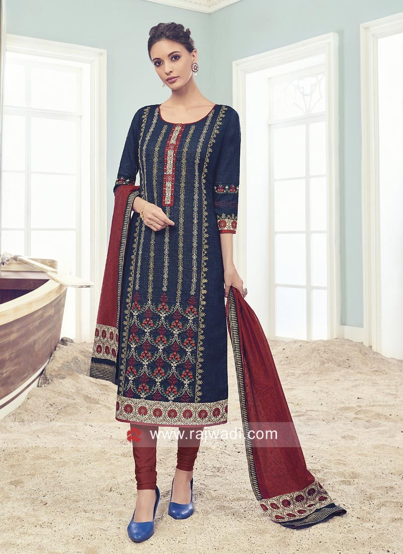 Printed Blue Salwar Suit with Dupatta