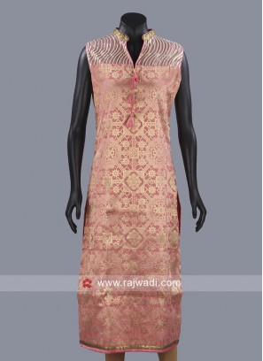 Printed Brocade Kurti in Pink