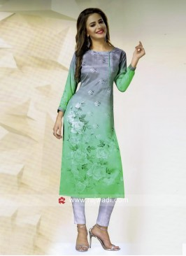 Printed Butter Silk Straight Fit Kurti